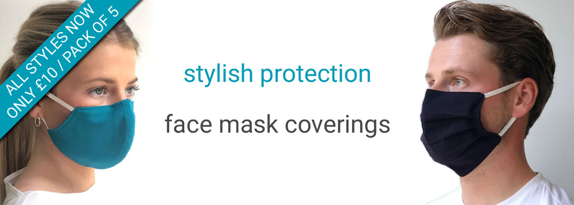 Face mask coverings available now - all styles £10 / Pack of 5
